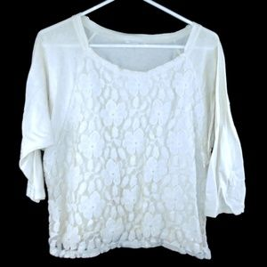 Forever 21 Floral Lace Shirt M Cream 3/4 Sleeves